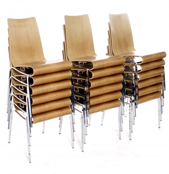 Stapelstuhl, Holz-Sitz dunkel, Chromgestell, gebrauchte Büromöbel