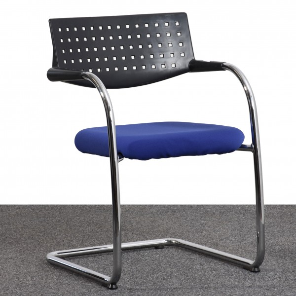 Vitra Freischwinger Stoff blau Gestell silber Armlehne  Büro 36555