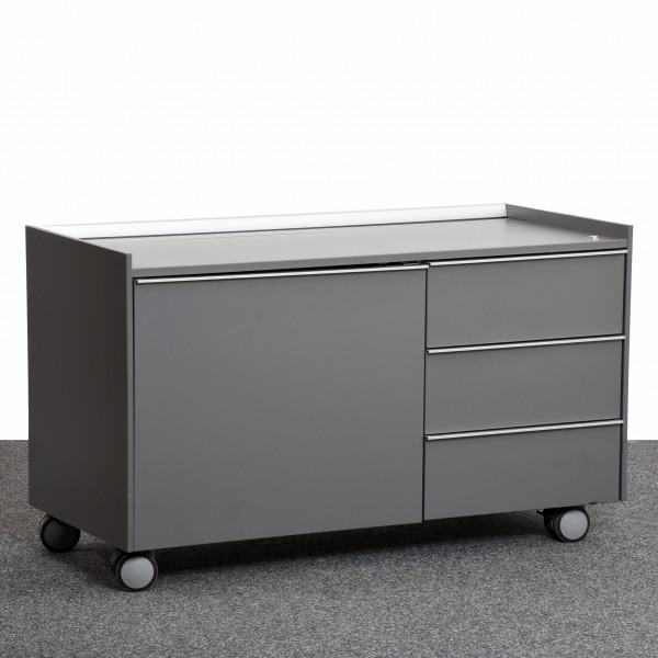 Bene Sideboard auf Rollen, Caddy, Rollcontainer, Korpus grau, silber, auf Rollen, gebraucht