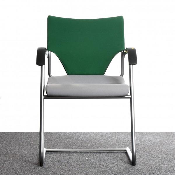 Wilkhahn Freischwinger, Stoffbezug Grün & grau, Armlehne Kunststoff, Gestell silber, gebraucht