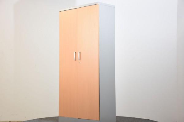Schrank, Breite 91,5 cm, Front in Holz, Korpus grau, gebraucht