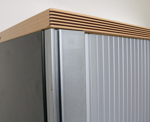 Sideboard 3OH, B 130 x H 114 x T 45 cm, anthrazit/silber, gebrauchte Büromöbel