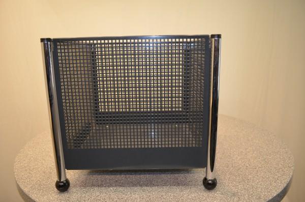 Aufbewahrungsbox, Metall, grau, Füße verchromt, gebrauchte Büromöbel