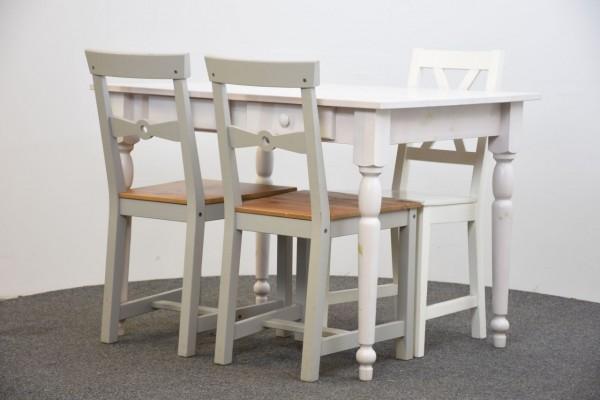 Tisch mit 3 Stühlen, weiß/grau, gebraucht