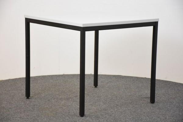 Besuchertisch, 80x80 cm, weiß, Gestell schwarz, gebraucht