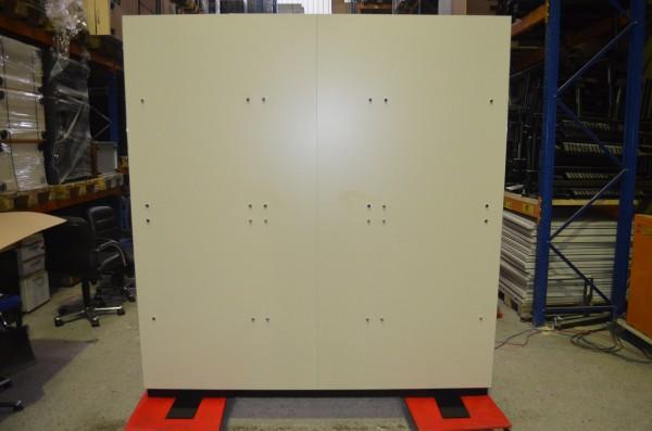 Stellwand, Raumtrenner, 205x200cm, Weiß/Schwarz/Chrom, gebrauchte Büromöbel