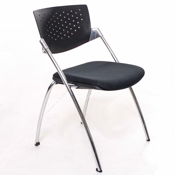 Besprechungsstuhl, schwarzer Stoffbezug, PVC-Rücken, Chrom-Gestell, gebrauchte Büromöbel