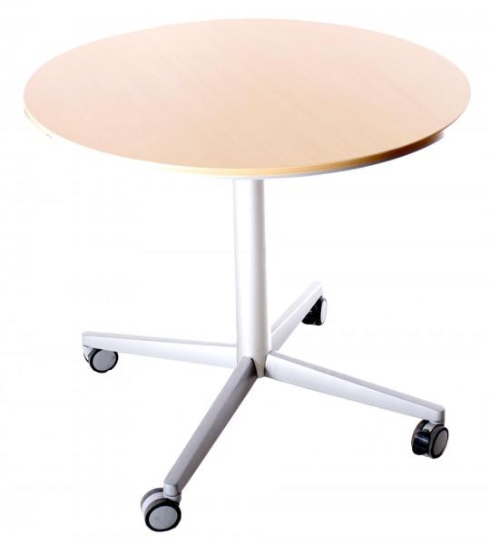 """Tisch, Beistelltisch, fahrbar """"BENE"""" Ø80 cm, Buche, gebrauchte Büromöbel"""