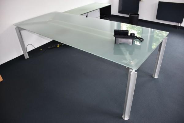 Bulo Glastisch, 300x100 cm, Beine silbergrau, gebraucht