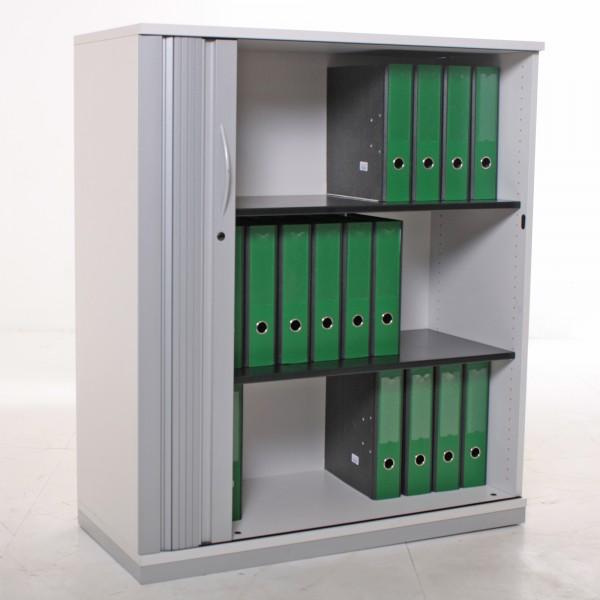Sideboard 3OH, 116x100cm, Lichtgrau/ Silber/ Holz, Lamellenschiebetür, Metallböden, gebrauchte