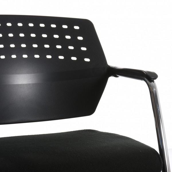 Freischwinger Stuhl, Textil, schwarz, verchromtes Gestell, Rücken perforiert, gebraucht