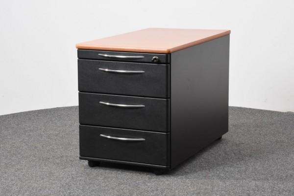Rollcontainer, schwarz, Abdeckplatte Buche, 4 Schubladen, gebraucht