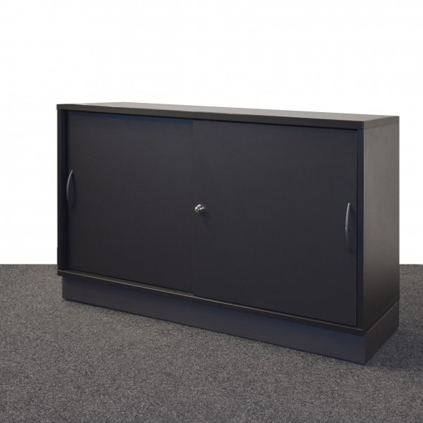 Febrü Sideboard 2 OH, schwarz, Schiebetüren, gebraucht
