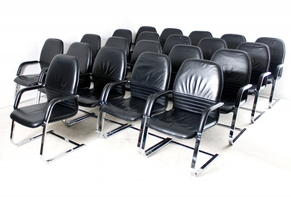 """Besprechungsstuhl 12er-Set,""""FEBRÜ"""" Echtleder schwarz, gebrauchte Büromöbel"""