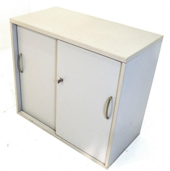 Sideboard 2OH, 77x84cm, Lichtgrau, gebrauchte Büromöbel