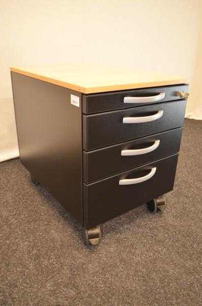 Rollcontainer schwarz - Buche mit 4x Schublade , OKA, gebrauchte Büromöbel