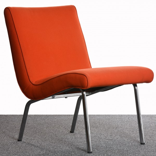 "Sessel ""WALTER KNOLL"" Classic Edition orange Chrom Textil gebraucht Büromöbel"