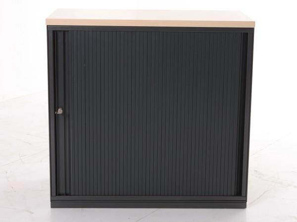 Sideboard 2OH, 77x80cm, Schwarz/ Buche, Rolladenschiebetür, gebrauchte Büromöbel