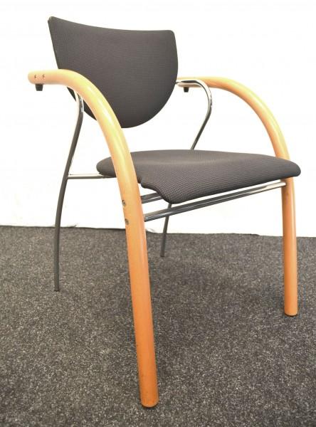 Stapelstuhl, THONET, schwarze Polsterung, Chrom- und Holzverarbeitung, gebrauchte Büromöbel