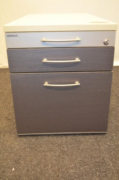 Rollcontainer anthrazit - silber mit 3x Schublade , GESIKA, gebrauchte Büromöbel