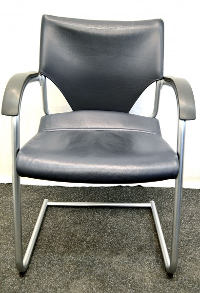 Freischwinger Sedus, blaue Lederpolsterung, Chromgestell, Armleh, gebrauchte Büromöbel