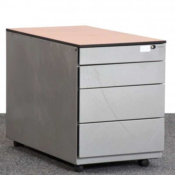Ahrend Rollcontainer, Deckplatte Kirsch Optik, Korpus Metall, silber, 4 Schubladen, gebraucht
