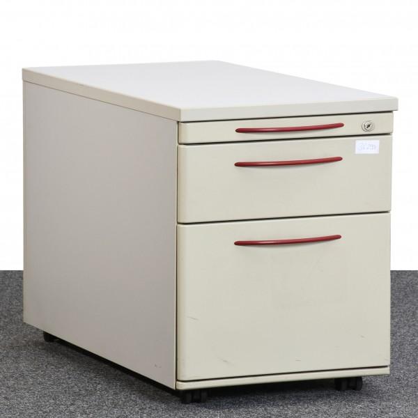 K&N Rollcontainer, lichtgrau/rot, Hängeregister, gebraucht