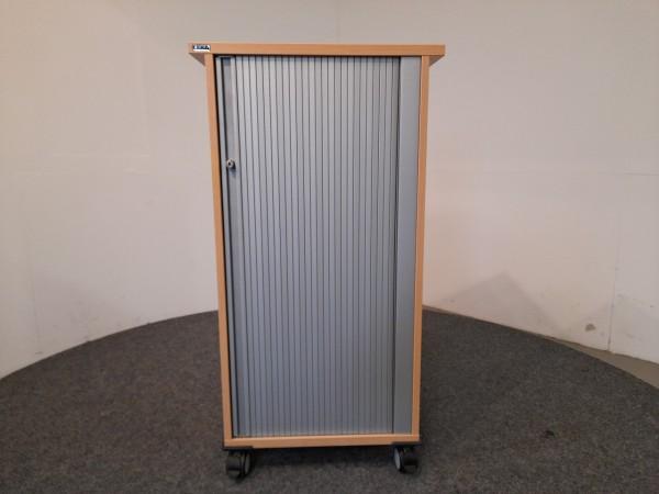 Ceka, Rollcontainer, hoch, Deckplatte Buche, Korpus silber, gebraucht