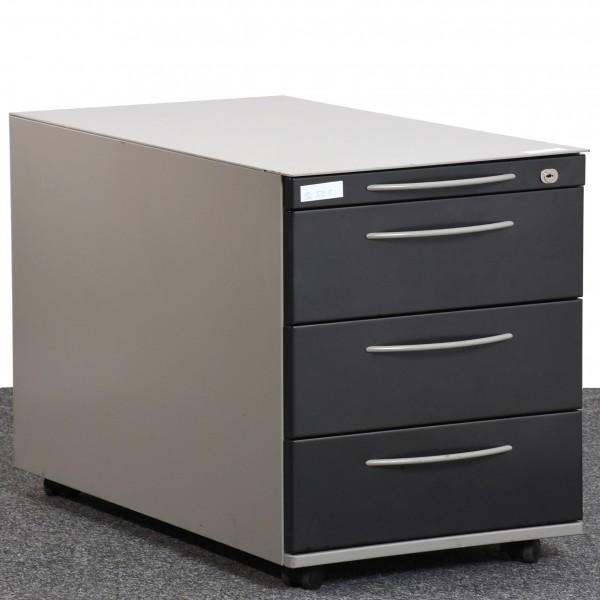K&N  Rollcontainer Metall grau schwarz  Schubladen gebraucht Büro 36549