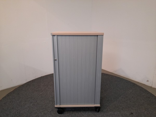 fm büromöbel, Rollcontainer, hoch, Deckplatte Ahorn, Korpus silber, gebraucht