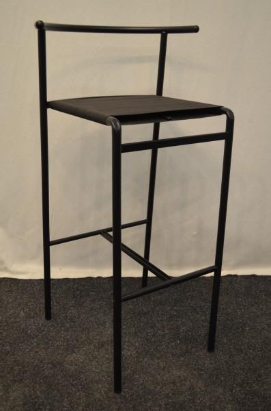 Hocker schwarz, Stoff-Spann-Polsterung, Fusstritt, Rückenstütze, gebrauchte Büromöbel