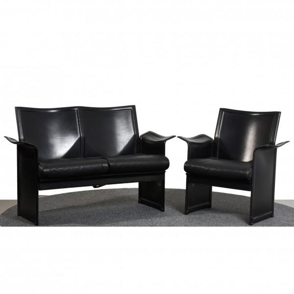 Matteo Grassi Korium Sofa & Sessel Set Design Tito Agnoli Leder schwarz gebraucht Vintage 36193 Büro