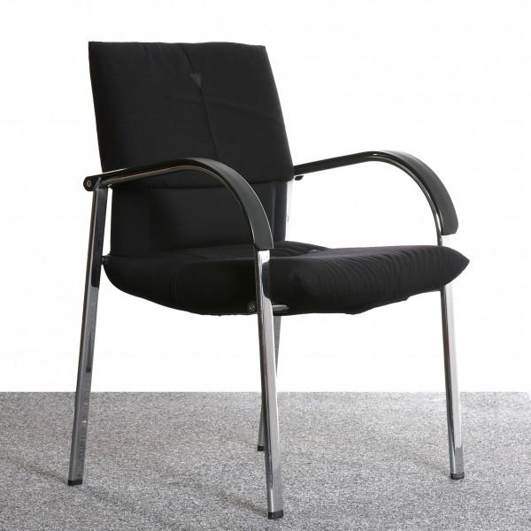 Vitra Figura by Mario Bellini Konferenzstuhl Besucherstuhl schwarz Chrom gebraucht Büro Vintage Design Klassiker