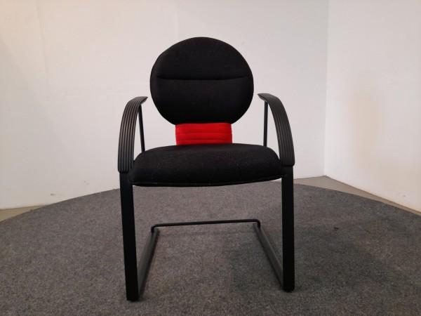 Freischwinger sitag, rot-schwarze Polsterung, schwarzes Gestell, gebraucht