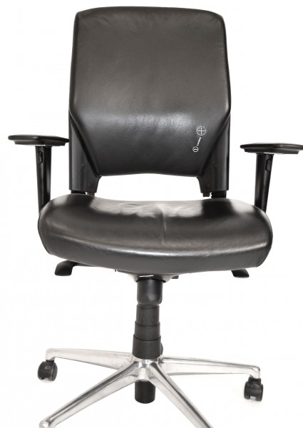 Bürodrehstuhl, schwarz, Leder, Armlehnen, Chromfuß, gebrauchte Büromöbel