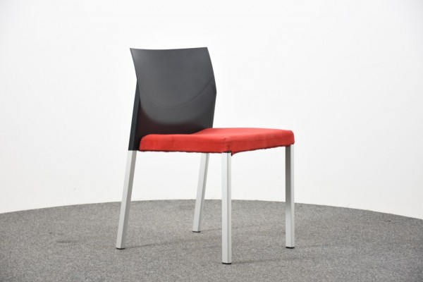 Besucherstuhl, rot/schwarz, 4 Fuß,  gebraucht