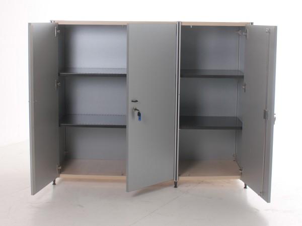 Sideboard 3OH, 113x133,5cm, Silber/ Ahorn, 3x Flügeltür, verschließbar, gebrauchte Büromöbel