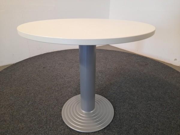Tisch, rund, lichtgrau, Ø 80, Stempelfuß silber, gebraucht