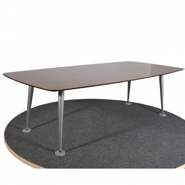 Besprechungstisch, 240x120 cm, Platte Nußbaum Optik, Beine silber, gebraucht