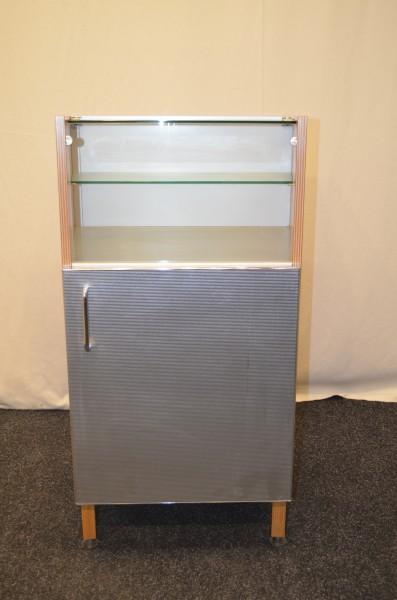 Vitrinenschrank 2OH, Buche, gebrauchte Büromöbel