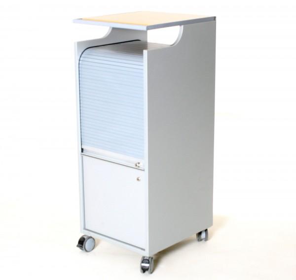 "Service-Rollcontainer ""Bene"", H 110 x B 43 x T 49 cm, silbergrau, gebrauchte Büromöbel"