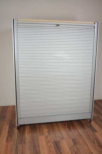 Sideboard 3OH, silber mit Ahorn Platte, Alu-Rahmen, gebrauchte Büromöbel 35015