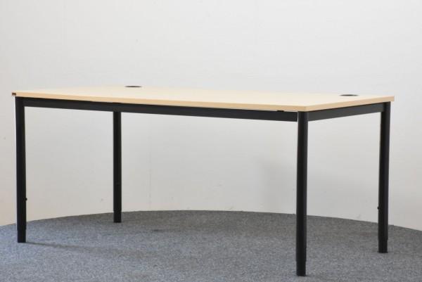 Schreibtisch, 80x160, Ahorn/schwarz, gebraucht