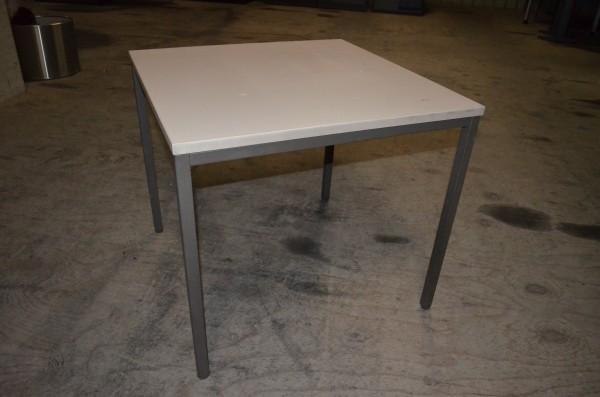 Besprechungstisch, 80x80 cm, lichtgrau, schwarzes Gestell, gebrauchte Büromöbel