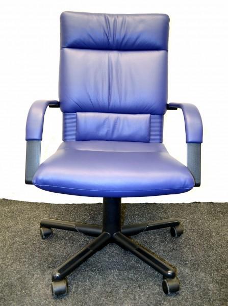Bürodrehstuhl Vitra Figura, blaue Lederpolsterung, hoher Ergorücken, gebrauchte Büromöbel