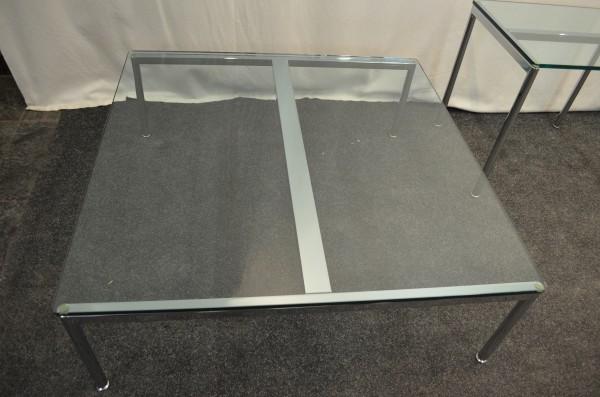 Glastisch, 110x110cm, Chromgestell, gebrauchte Büromöbel
