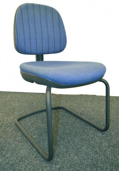 Freischwinger sitag, blau-schwarze Polsterung, schwarzes Gestell, gebrauchte Büromöbel