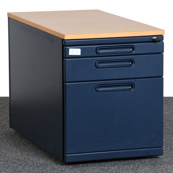 Rollcontainer Korpus dunkelblau Deckplatte Buche Schubladen gebraucht Büro 36319