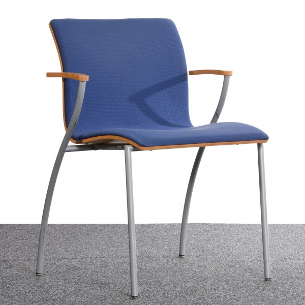 Sedus Stuhl, Polster blau, 4 Fuß Chrom, gebraucht