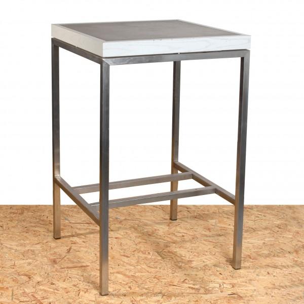Stehtisch quadratisch grau  Edelstahl Holz gebraucht 67,5 x 67,5 cm, 93 cm